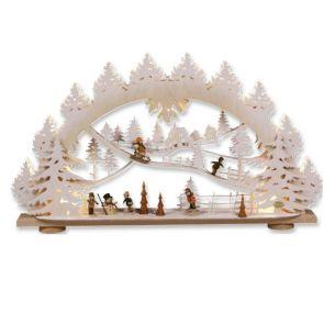 Weihnachtsbeleuchtung - Hochwertiges aus dem Erzgebirge - Schwibbogen Motiv Kinder im Schnee