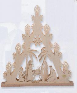 Weihnachtsbeleuchtung -  Hochwertiges aus dem Erzgebirge - Holz-Leuchtturm - Motiv Schneemann oder Christi Geburt