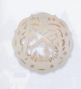 Weihnachtsbeleuchtung - Hochwertiges aus dem Erzgebirge - Holz-Fensterbilder Motiv Krippe oder Seiffener Kirche