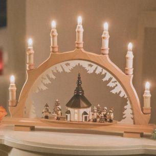 Weihnachtsbeleuchtung - Hochwertiges aus dem Erzgebirge - Schwibbogen Motiv Seiffener Kirche