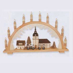 Weihnachtsbeleuchtung - Hochwertiges aus dem Erzgebirge - Schwibbogen Motiv Dorfkirche