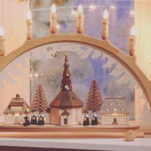 Weihnachtsbeleuchtung - Hochwertiges aus dem Erzgebirge - Schwibbogen Motiv Seiffener Dorf