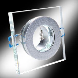 Eckiger Einbaustrahler aus Aluminium und Glas