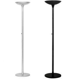 Energiespar-Stehleuchte mit Metallschirm - Inklusive Leuchtmittel - mit Dimmer - in Schwarz oder in Metallgrau
