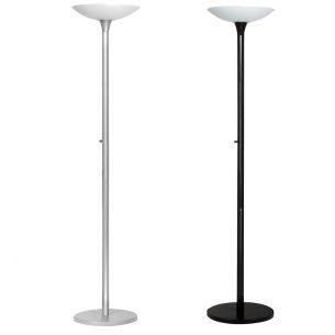 Energiespar-Stehleuchte mit Glasschirm - Inklusive Leuchtmittel - mit Dimmer - in Schwarz oder Metallgrau