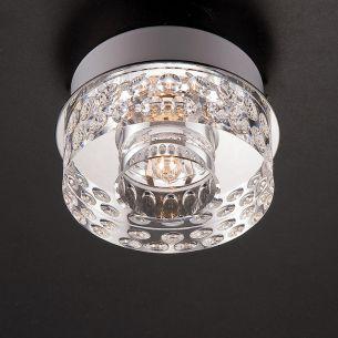 Aufbauleuchte, schwere Glasqualität Blende chrom silber, Chrom