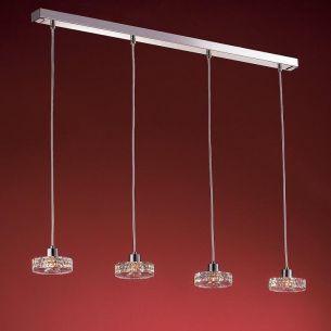 4-flammige Pendelleuchte in Chrom oder Gold - schwere Glasqualität - inklusive 4 Energiesaver-Leuchtmittel