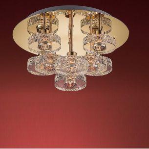 Deckenleuchte - 8-flammig rund - in Chrom oder Gold - schwere Glasqualität - inklusive Leuchtmittel