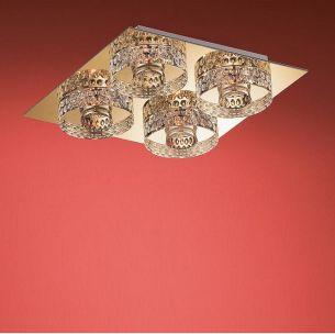 Deckenleuchte- 4 flammig eckig - in Chrom oder Gold - schwere Glasqualität, inklusive Leuchtmittel