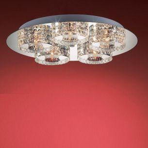 Deckenleuchte- 5 flammig rund, schwere Glasqualität, inklusive Leuchtmittel