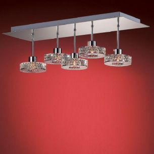 5-flammige Deckenleuchte in Chrom oder Gold - Gläser höhenversetzt - inklusive Halogenleuchtmittel