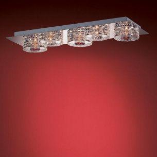 5-flammige, längliche Deckenleuchte in Chrom oder Gold - Gläser anliegend - inklusive Halogenleuchtmittel