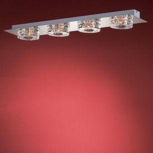 4-flammige, längliche Deckenleuchte - in Chrom oder Gold - Gläser anliegend - inklusive Halogenleuchtmittel