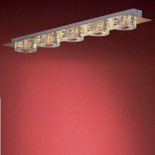 5-flammige längliche Deckenleuchte in Chrom oder Gold - Gläser anliegend - inklusive Halogenleuchtmittel