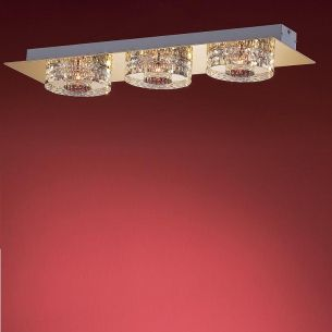 3-flammige Deckenleuchte in Chrom oder Gold - Kristallgläser anliegend - inklusive Halogenleuchtmittel