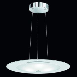 Moderne Pendelleuchte in Nickel-matt - Glas satiniert mit klarem Rand - inklusive LEDs 3x3W 3500K - Durchmesser 50cm