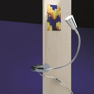 Federklemmleuchte FLEXLIGHT SPRING mit Leuchtenkopf RIO - Armlänge 20cm - Chrom silber, Chrom, 20,00 cm