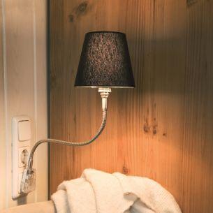 Steckerleuchte PLUGLIGHT FLEX mit SILK SCHWARZ - Chrom - 20 cm - Steckerfarbe schwarz Chrom, 20,00 cm, Stecker schwarz