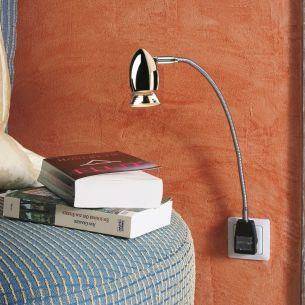 Steckerleuchte PLUGLIGHT FLEX APOLLO-SPOT - Chrom - 20 cm - Stecker schwarz Chrom, 20,00 cm, Stecker schwarz