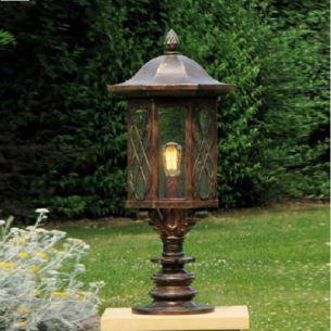 Außenbeleuchtung Sockelleuchte, Laterne, handgeschmiedet - reich verziert - Höhe 88,5cm