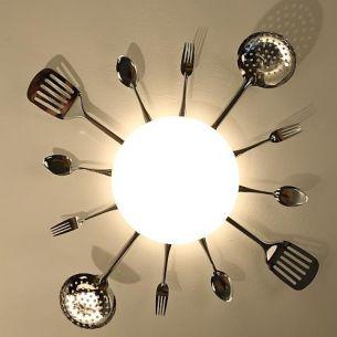 Decken- oder Wandlampe mit Besteck - optimal für die Küche, Durchmesser 66cm