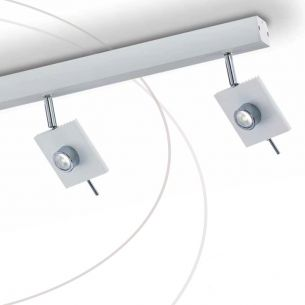 Strahlerbalken  2 schwenkbare LED Spots, in Weiß oder Grau wählbar , 2x6W LED-Leuchtmittel  inklusive