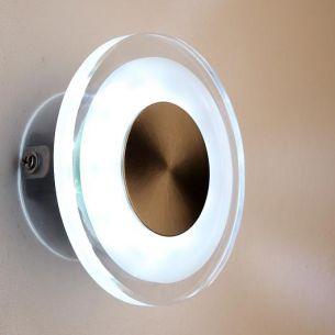 LED-Außenwandleuchte, Effektbeleuchtung, teilsatiniertes Glas, rund