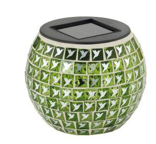 LED Solar-Teelicht Vogel aus Glas grün