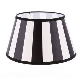Lampenschirm aus Stoff Schwarz-Beige( sehr helles Beige) gestreift rund Ø 20cm Aufnahme E27