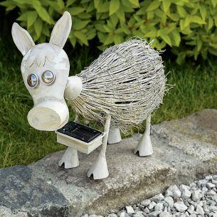 LED-Solarleuchte Esel, Metall antik weiß, Bambus