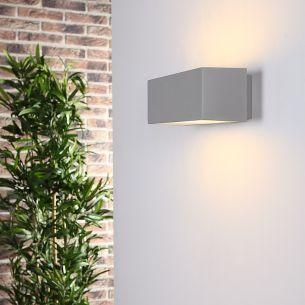 Moderne Wandleuchte aus Aluminium - Fassadenbeleuchtung - silber 1x 100 Watt, silbergrau, 21,30 cm, 12,30 cm
