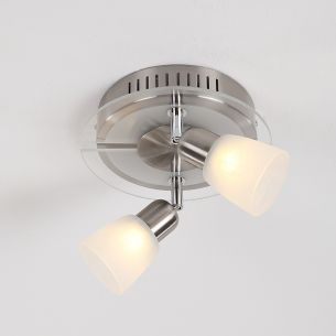 LED-Strahlerserie - Edelstahl - Glas - 2-flammiger Deckenstrahler
