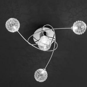 Deckenleuchte 4 flammig, Leuchtengläser mit Chromgeflecht dekoriert