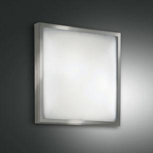 Deckenleuchte 30 x 30 cm, Glas und Metallgestell Nickel-satiniert stahlfarbig, Nickel, vernickelt/satiniert