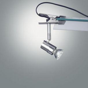 Flexibel einsetzbare Klemmleuchte mit schwenkbarem Spot, Design by S.T. Fabas Luce