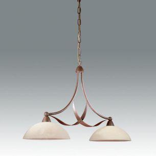 Pendelleuchte, 2 flammig, Design im Landhauslook mit schönem Strukturglas