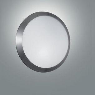 Design-Deckenleuchte, mit Einfassung in Nickel matt stahlfarbig, Nickel-matt