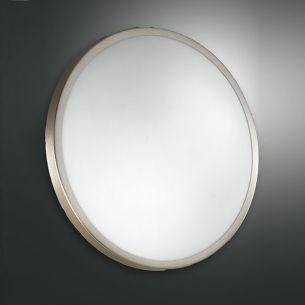 Deckenleuchte 40 cm, Glas satiniert, Metall Nickel-matt stahlfarbig, Nickel-matt