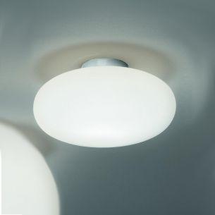 Schlichte Deckenleuchte mit Opalglas weiß - Nickel matt - Ø19cm 1x 48 Watt, 11,00 cm, 19,00 cm, 7,80 cm