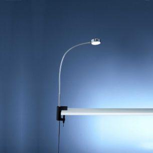 LED- Tischklemmleuchte in Chrom mit warmweißem Licht