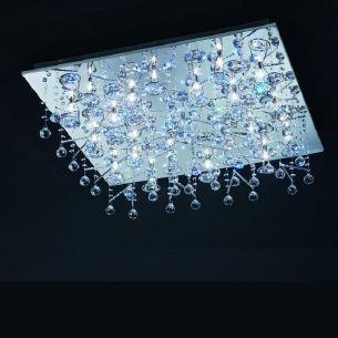 Deckenleuchte mit 52 blauen LEDs und 21x10W Halogenlicht, mit Fernbedienung