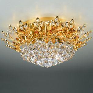 Deckenleuchte mit Bleikristallbehang , 24 Karat vergoldet