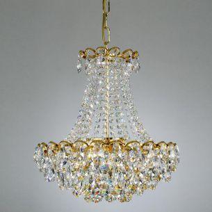 Kronleuchter mit Bleikristallbehang und 24 Karat vergoldet, verschiedene Größen wählbar