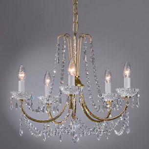 Kronleuchter mit Bleikristallbehang und 24 Karat vergoldet