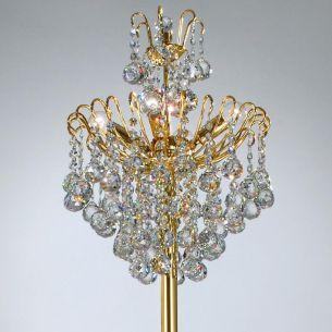 Stehleuchter mit Bleikristallbehang und 24 Karat vergoldet