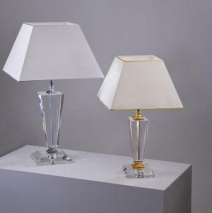 Tischleuchte mit optischem Kristallglas, geschliffen, vergoldet oder verchromt in 4 Ausführungen wählbar
