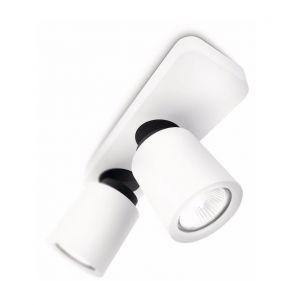 Leistungsstarke Spotbeleuchtung- 2-flammiger Deckenspot - Aluminium weiss weiß