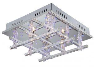 Deckenlampe kombiniert Halogenlampen mit blauen LEDs inklusive Fernbedienung