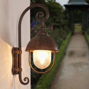 Rustikale Außen-Wandleuchte - Braun Patina - Blasenglas antik