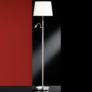 Funktionelle Stehleuchte mit flexiblem LED-Lesearm - Chrom - Stoffschirm weiss